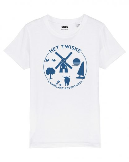 Wit kinder T-shirt met Kobalt blauwe Twiske print