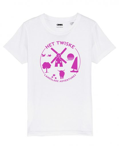 Wit Biologisch Kinder T-shirt met roze Twiske print