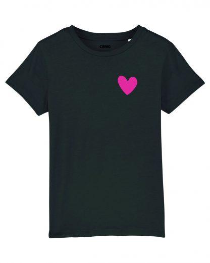 Zwart Biologisch Kinder T-shirt met hartje print
