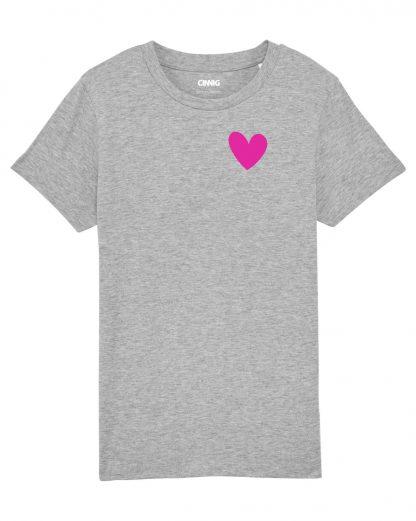 Grijs Biologisch Kinder T-shirt met hartje print