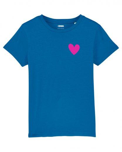 Blauw Biologisch Kinder T-shirt met hartje print