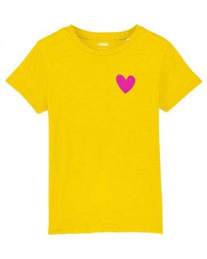 Yellow Organic Kids' T-shirt with heart graphic