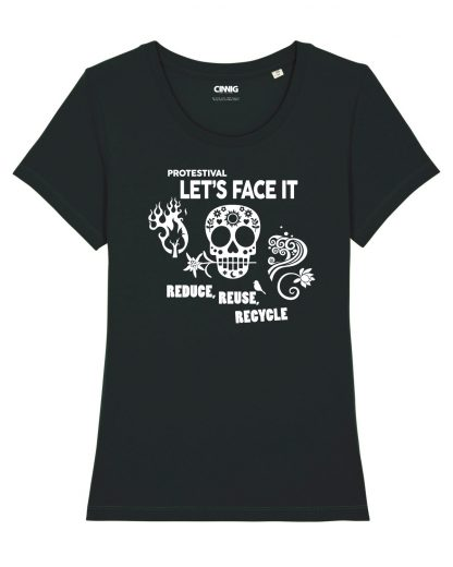 100% Biologisch T-shirt met Protestival opdruk Reuse Reduce Recycle
