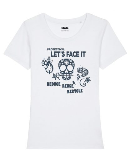 100% Organic Woman T-shirt with Protestival Skull graphic